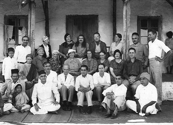 Kalemama with Meher Baba and Eastern and Western Mandli and Meher Baba