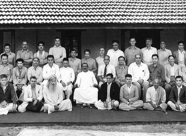 Meher Baba with His Mandli at Meherabad - 1949